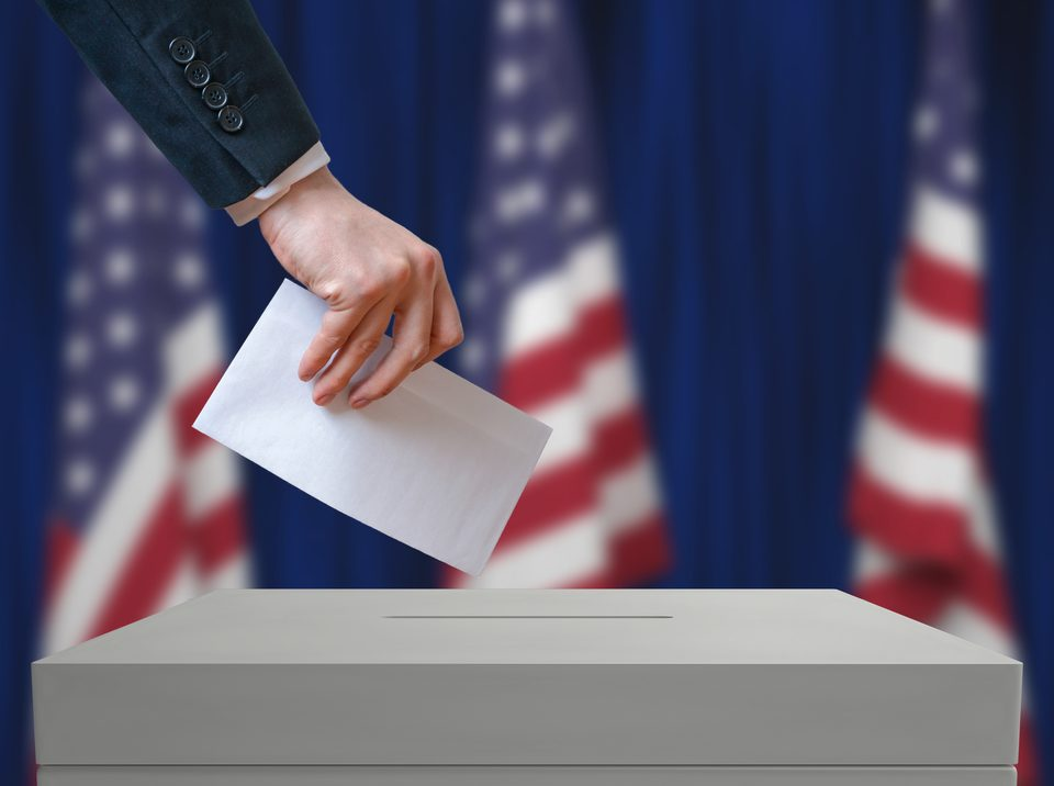 Casting a vote on election day